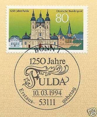 Brd 1994: Fulda 1250 Jahre! Nr. 1722 Mit Bonner Ersttagssonderstempel! 1a! 1810 Exquisite Handwerkskunst;