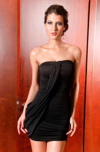 Black Ruched Bodycon Mini Dress Across Neckline Strapless Ruffle Detail
