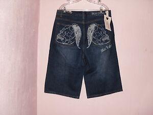 Argento Nwt Blac uomo da alati blu etichetta ~ Pantaloncini 'bl' con teschi ricamato dIxAtwvnq