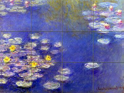 Art Monet Lily Pond Tumbled Marble Mural Backsplash Bath Tile #121