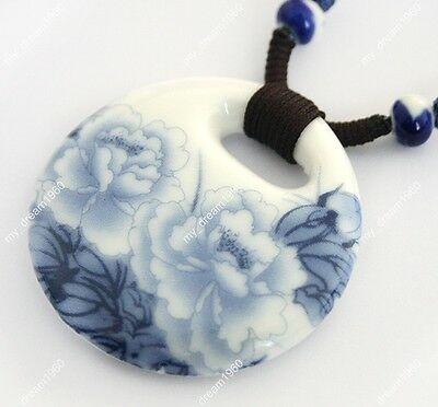 Vintage Style Oriental Hand Painted Peony Pattern Porcelain Pendant Necklace