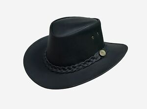 La imagen se está cargando Estilo-australiano-Cuero-Bush-sombrero-vaquero- para-hombre- f46972b91c2