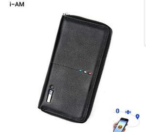 Portefeuille-Porte-Monnaie-Smart-Antivol-avec-Bluetooth-4-0-Femme-en-Cuir-Noir
