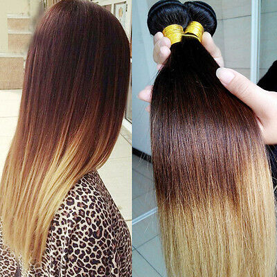 "14""-28"" Three Tone Ombre Brazilian 100% Remy Straight Human Hair Extensions 50g"