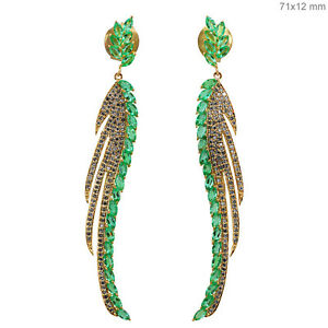NEW-Emerald-Solid-18k-Gold-Pave-Diamond-FEATHER-Dangle-Earrings-Designer-Jewelry