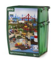 33766 BRIO RAILWAY mondo Deluxe Set treno in legno classico Set Con Luci & Suono