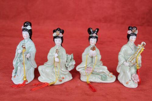 Oriental Asian Lady Geisha Porcelain Green Figurine Set Japanese Statue Gift Mom