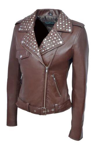 Real in Biker Nappa Marrone di Italian lusso Style Design pelle da donna Giacca q0wgU11