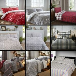 Thermal-100-Brushed-Cotton-Flannelette-Quilt-Duvet-Cover-Bed-Set-Soft-Cosy-Warm