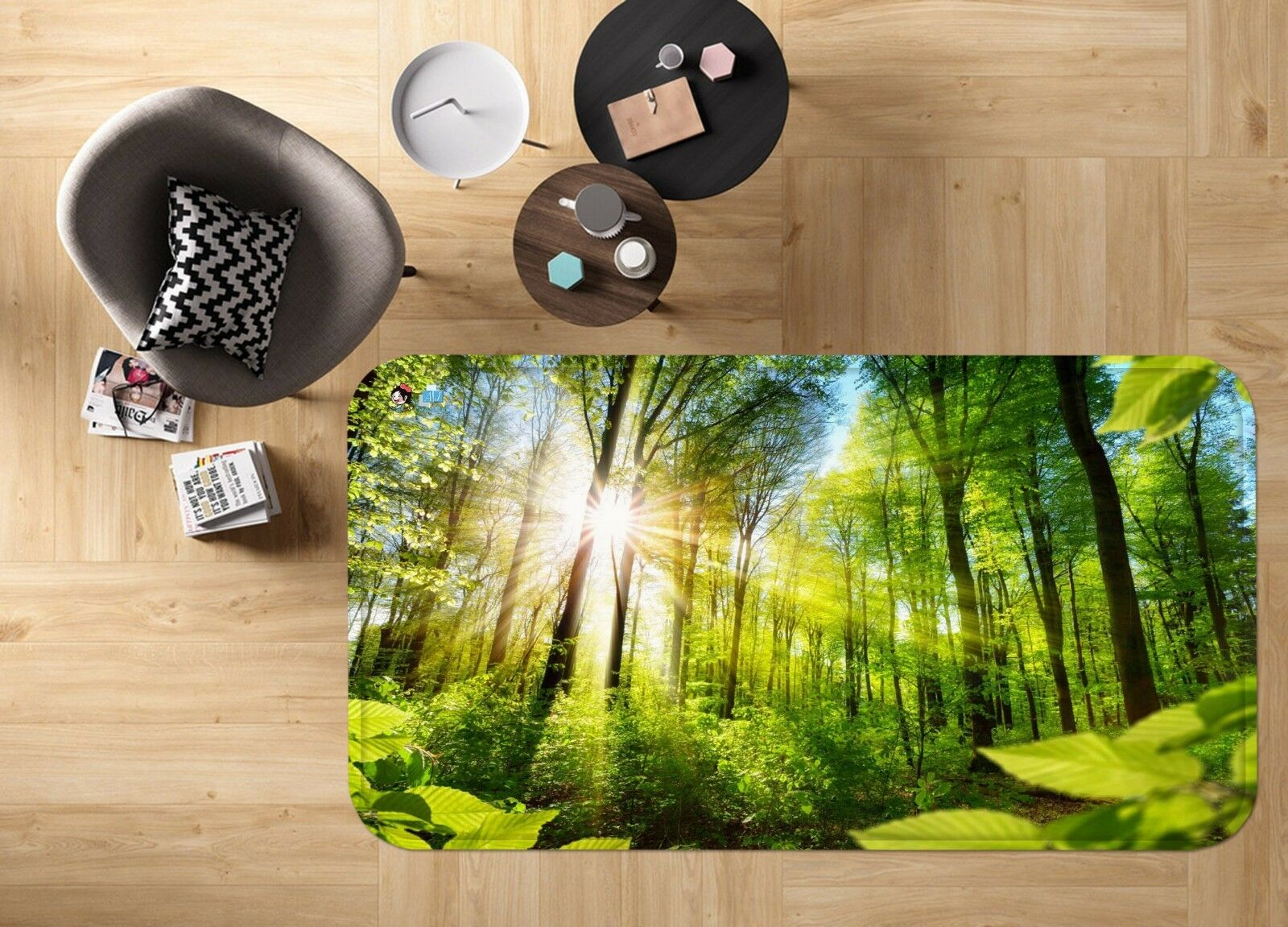 3D Sunlight Forest 001 Non Slip Rug Mat Quality Elegant Photo Carpet US Carly