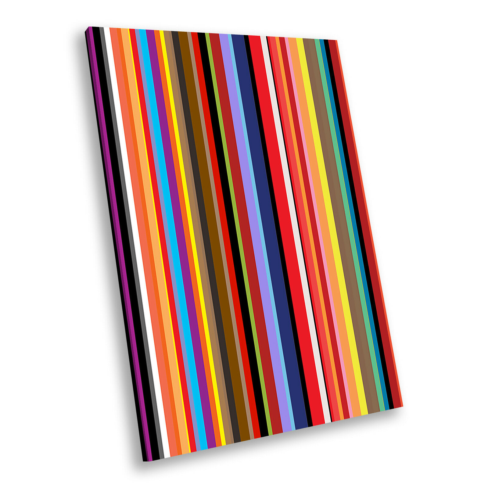 Colourful Blau braun Portrait Abstract Canvas Framed Art Large Picture