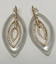 NEW Alexis Bittar IVORY Lucite Pave Crystal Marquis Frame Orbiting Earrings $255