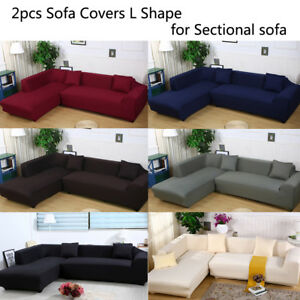 Details about Sectional Sofa Covers L Shape 2pcs (2+3seat) Polyester Fabric  Stretch Slipcovers