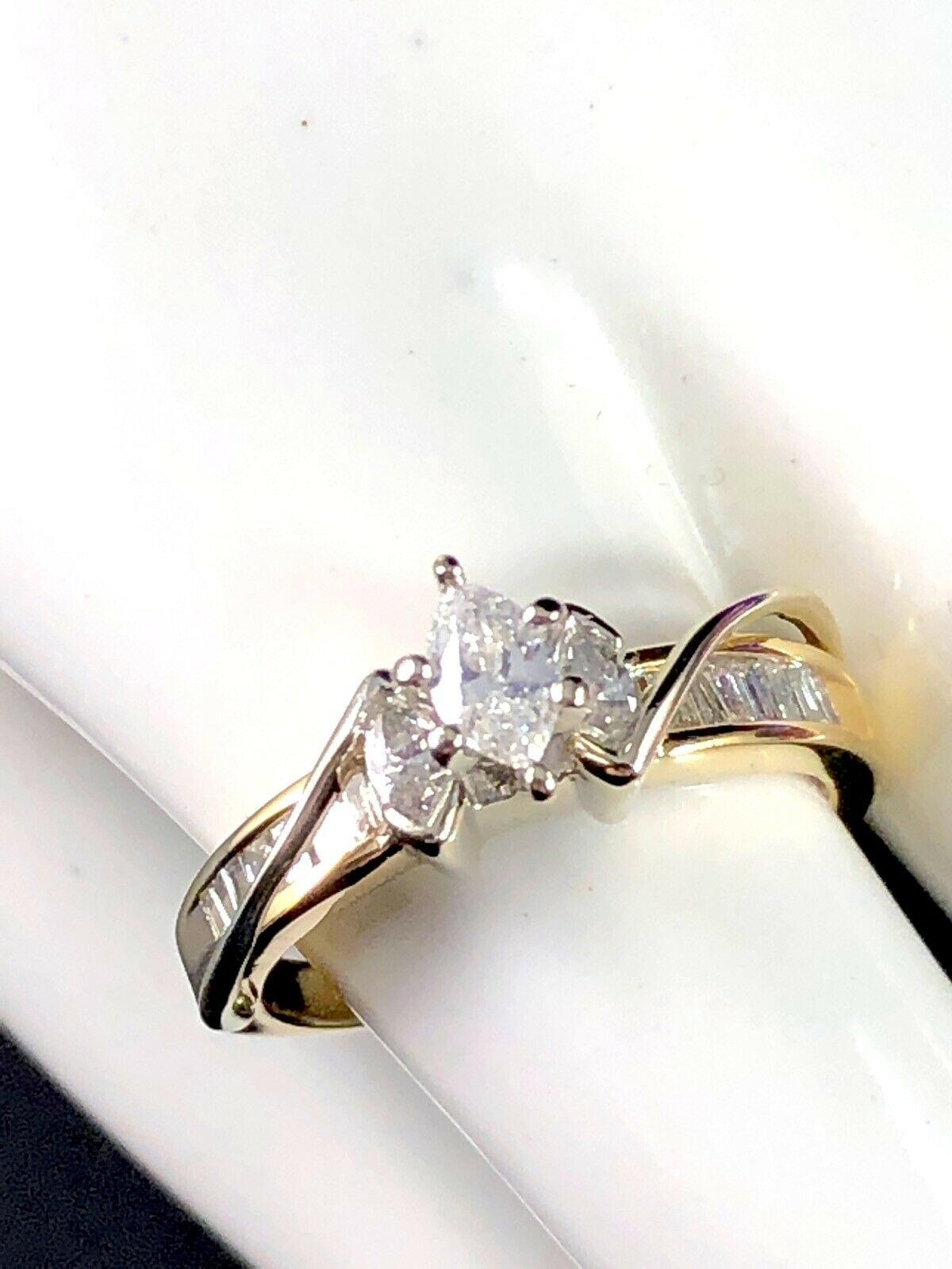 14K SOLID YELLOW gold 1 4 CT NATURAL MARQUISE DIAMOND .61 CTW ENGAGEMENT RING