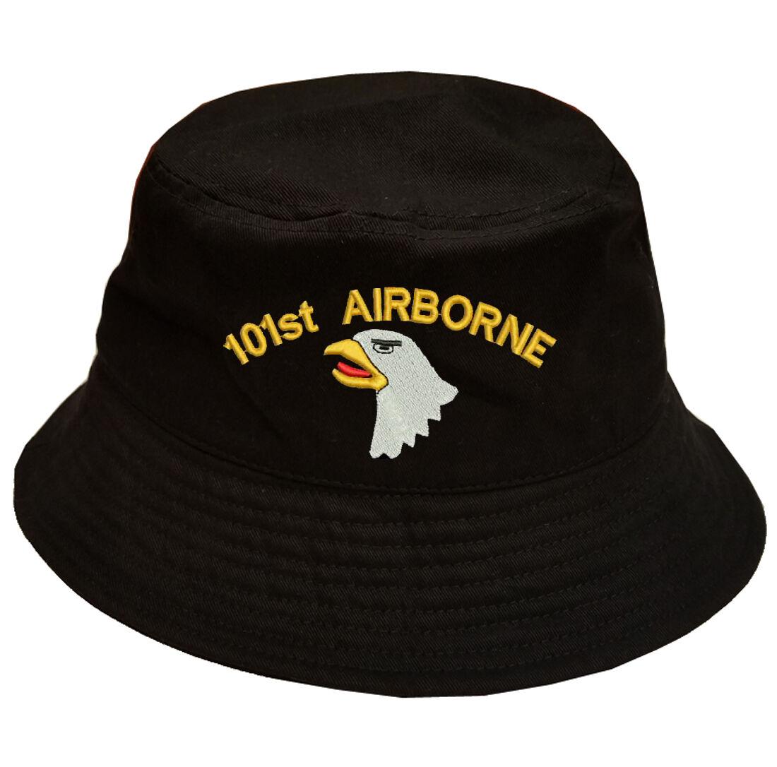 100% Cotton Military Black Bucket Cap EAGLE Hat 101ST AIRBORNE SCREAMING EAGLE Cap LOGO 35f663