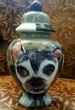 Custom Pet Dog urns cremation pug urn Boston terrier dog hand painted portrait