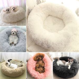 Shag-Faux-Fur-Donut-Cuddler-Pet-Bed-Dog-Beds-Soft-Warm-Medium-Small-Dogs-Cats