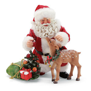 Clothtique-Possible-Dreams-039-Apple-For-You-039-Santa-with-Baby-Deer-6003460