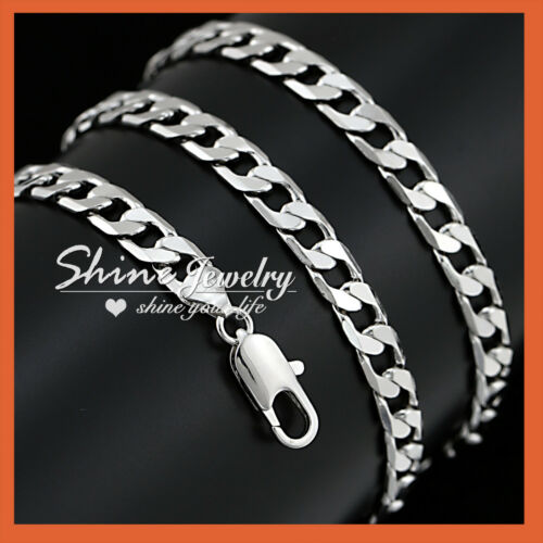 18K GOLD GF DIAMOND CUT SILVER CURB RING CHAIN LADIES MENS SOLID NECKLACE 60CM
