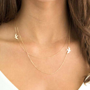 Charms Double Layer Bird Necklace Gold Delicate Simple Thin Short
