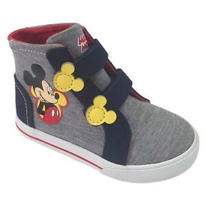 Details zu DISNEY MICKEY MOUSE SHOES GRAY W EARS HIGH TOP CANVAS SNEAKERS TODDLER NWT!