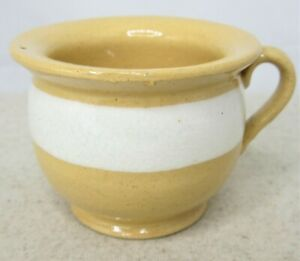 Antique-Yellow-Ware-Miniature-Chamber-Pot-Cup-White-Stripe-Stoneware-Vintage
