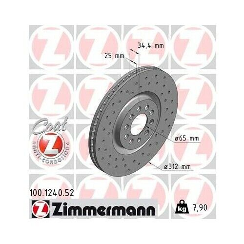 2 Disque de frein ZIMMERMANN 100.1240.52 DISQUE DE FREIN SPORT COAT Z