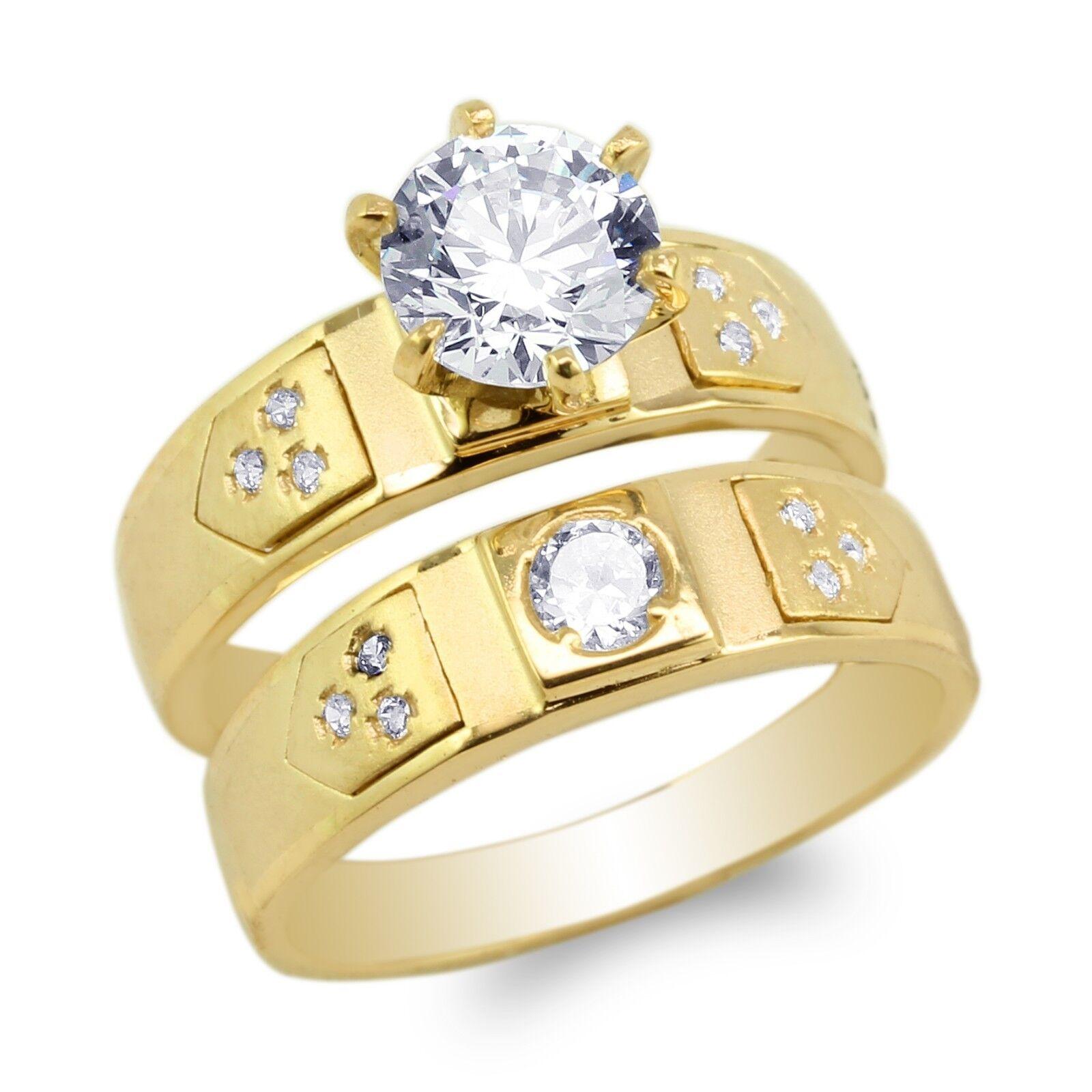 JamesJenny Ladies 10K 14K Yellow gold Duo Set Engagement &Wedding Ring Size5-10