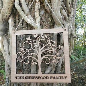 Personalised Wooden Family Tree Wall Art Family Names Cut Out Of