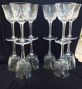 Set 12 Gorham Cherrywood Clear Vintage Cut Crystal Wine Glasses
