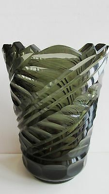"Art Glass 100% Quality Czech/bohemian Art Deco 1930's Hand-cut Smoky Glass Vase 7.1"" 3.37 Lb Other Bohemian/czech Art Glass"