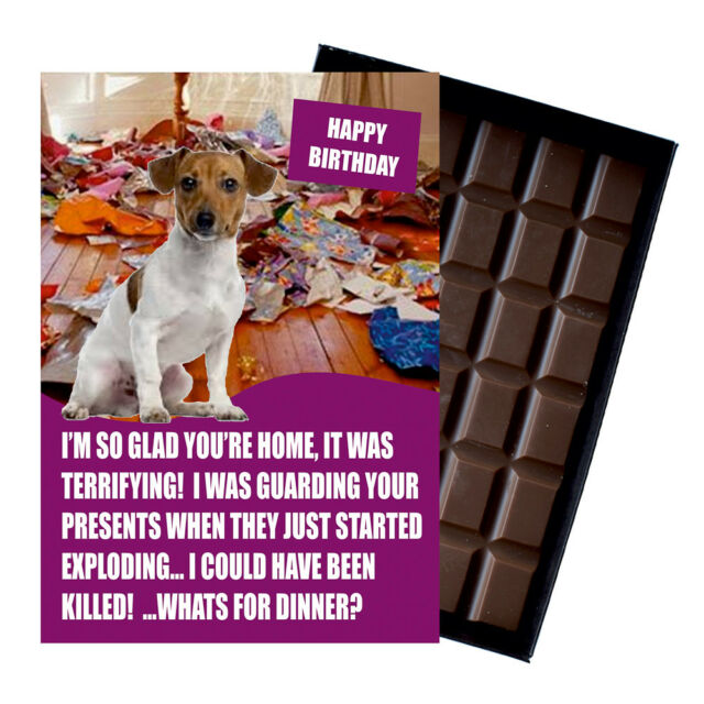 Novelty Chocolate Dog Lover Birthday Gift Funny Jack Russell Greeting Card UK