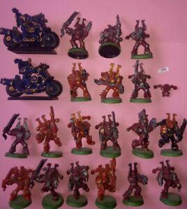 18 Khorne Chaos Space Marines + 2 Vélos Plastique Warhammer 40k World Eaters-afficher Le Titre D'origine Facile à RéParer