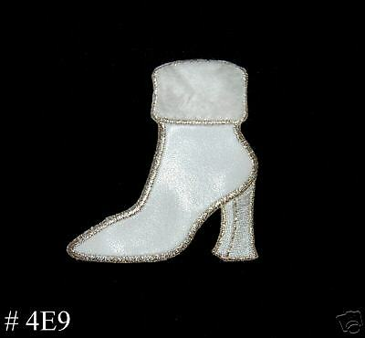 1PC ~WHITE FUR SUEDE BOOT~IRON ON EMBROIDERED PATCH