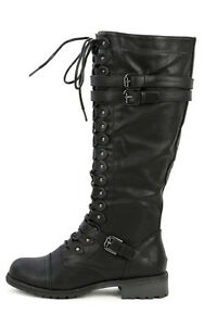 Cool Combat Boots Women Up Lace Military Shoes High Leather Faded Glory New Fashion | EBay