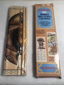 Vintage-1985-Reversible-Hanging-Scroll-Calendar-NIP-32-x-12-5