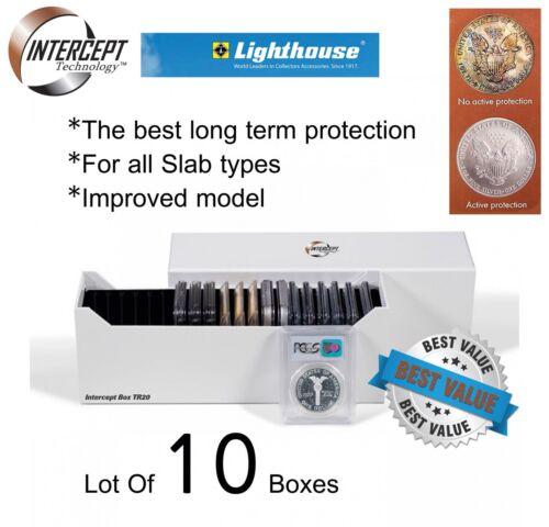10 PCGS NGC Long Term Anti Tarnish Coin Slab Storage Box 10 Lighthouse Intercept