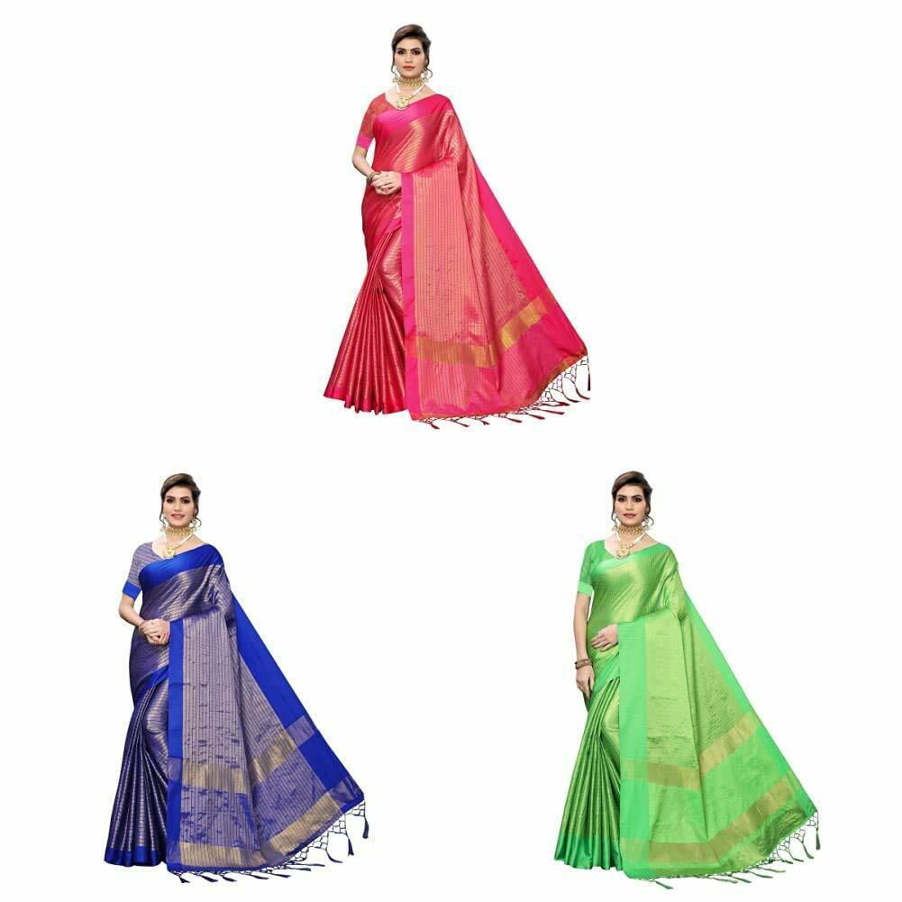 Indian Women's Cotton Silk Saree With Blouse Piece Free Shipping Combo Pack of 3