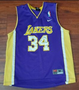 LAKERS SHAQUILLE O'NEAL JERSEY YOUTH MEDIUM NIKE SEWN ON VGC THREE ...