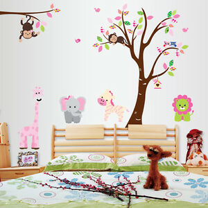 Details About Animals Tree Monkey Removable Wall Decal Stickers Kids Baby Nursery Room Decor