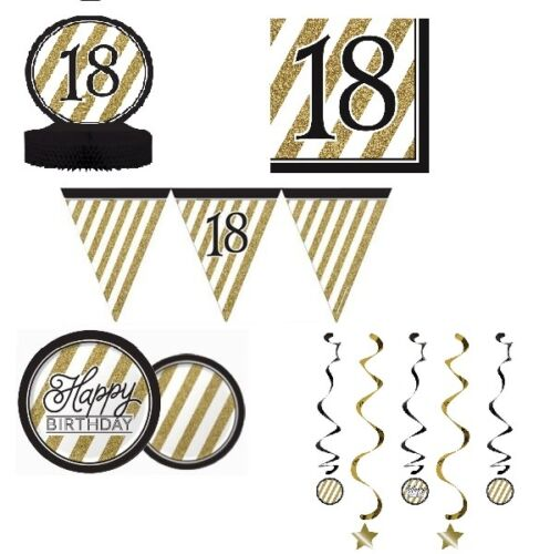 BLACK /& GOLD HAPPY BIRTHDAY AGE 18//18TH BDAY PARTY ITEMS Decorations Tableware