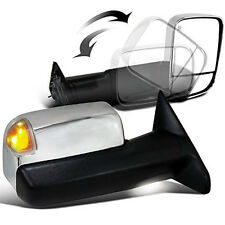 For 10-12 Ram Chrome Side Mirrors Power Heated LED Puddle Lights Towing Mirror