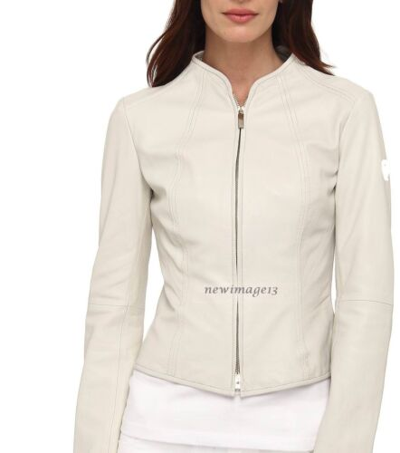 New Jacket Lambskin Soft Biker Leather Genuine 100 Bomber Women's Wj219 White C4rCFwq