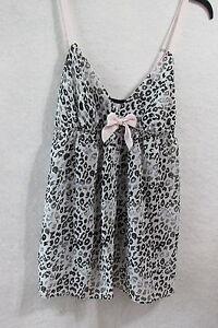 Women-039-s-Flora-Black-Leopard-Print-Babydoll-Chemise-Size-Large