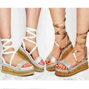 d88b7ded1f0 Details about Womens Ladies Lace Up Espadrilles Sandals Diamante Flat Thick  Sole Flatform Shoe