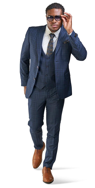 Slim Fit 2 Button Navy bluee Windowpane Mens Suit 3 Piece Vested 35071 AZARMAN