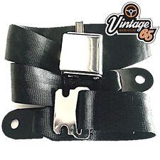 Vintage & Classic Car Black Chrome Buckle Lap Seat Belt Adjustable Front & Rear