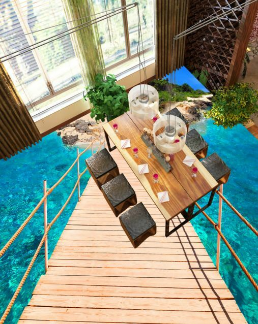 3D Sea Bridge Islands Floor WallPaper Murals Wall Print Decal 5D AJ WALLPAPER