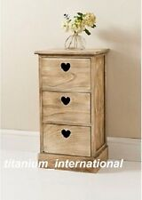 MODERN HOLLY DESIGN 3 DRAWER CHEST UNIT BASKET DRAWER WITH HEART SHAPE HANDLES