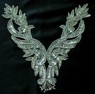 NK29 Silver Fringed Sequin Beaded Applique NECKLINE V-NECK Sew On Dancewear